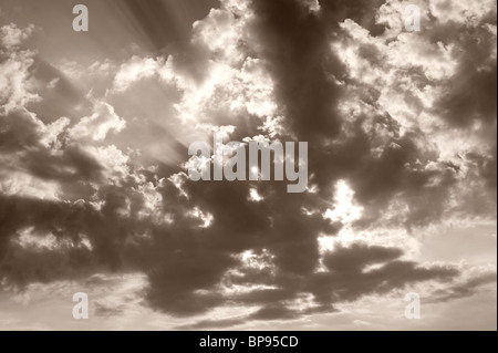 Sun Rays/Beams and Clouds - Stock Photo