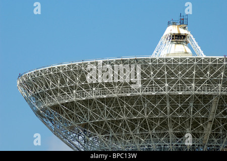 Porabolic dish at space control center close-up - Stock Photo