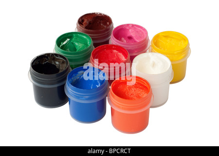 Jars with colored gouache. Isolated on white background with clipping path. - Stock Photo