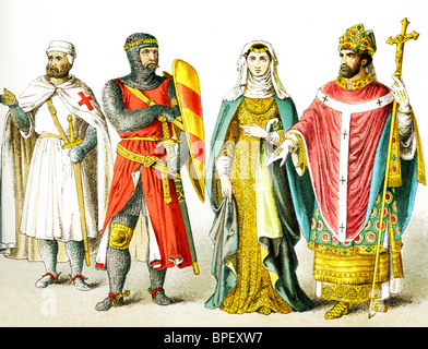 The figures are English people around A.D. 1200. They are, from left to right: Knight Templar, knight, lady of rank, - Stock Photo