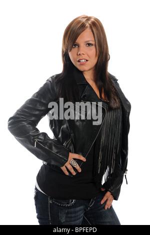 Pretty Brunette Girl Wearing A Leather Jacket Sitting