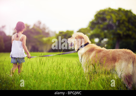 Young girl with golden retriever walking away into sun - Stock Photo