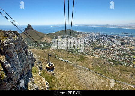 Table Mountain aerial lift, Cape Town, Western Cape, South Africa, Africa - Stock Photo