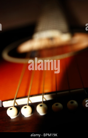 an abstract close up of an acoustic guitar - Stockfoto