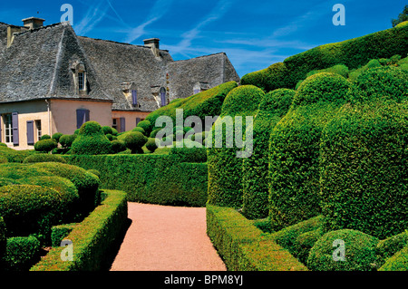 France: Chateau and gardens of Marqueyssac - Stock Photo
