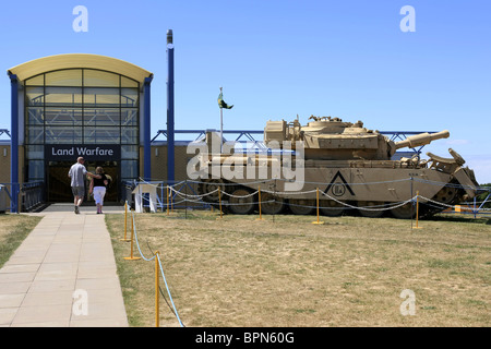 A Gulf War Battle tank sits outside the Land Warfare Museum IWM Duxford - Stock Photo