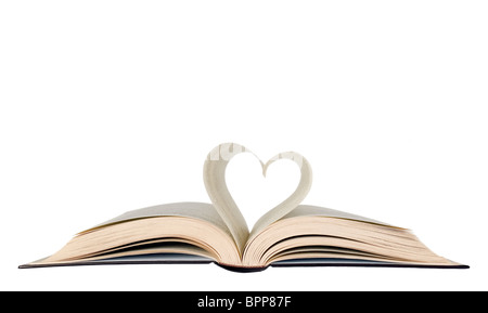 Book with opened pages and shape of heart - Stock Photo