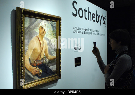 Sotheby's pre-auction display at Moscow's Historical Museum - Stock Photo