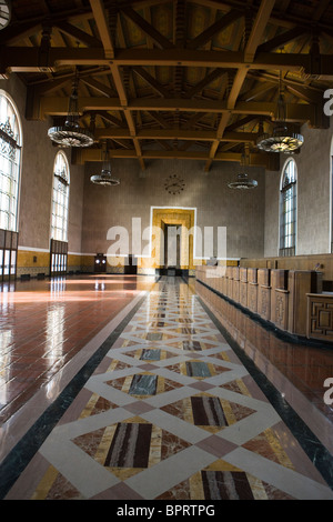 Art deco interior of left lobby, Los Angeles Union Station (LAUS), downtown Los Angeles, California, United States - Stock Photo