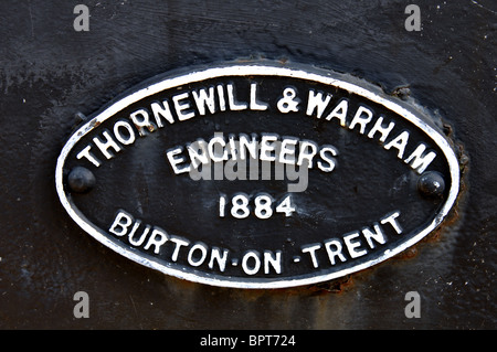 Makers plaque on Andresey Bridge, Burton on Trent, Staffordshire, England, UK - Stock Photo