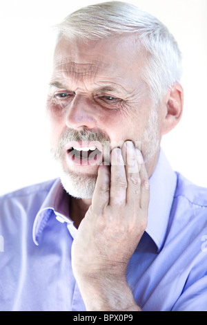 caucasian senior man portrait  toothache pain isolated studio on white background - Stock Photo