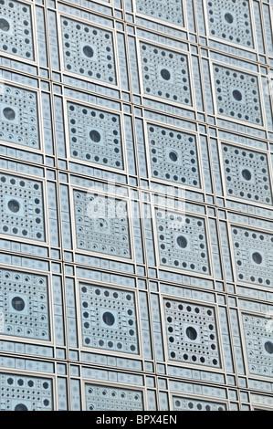 facade of Institut du Monde Arabe, Paris, France - Stock Photo