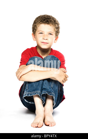 little caucasian boy portrait smiling isolated studio on white background - Stockfoto