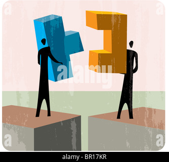 People putting two blocks together - Stock Photo