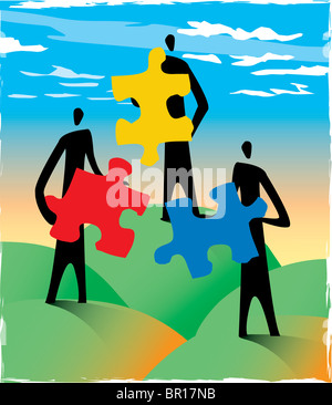 Three people holding puzzle pieces - Stock Photo