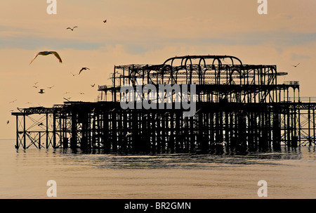 The dilapidated West Pier, Brighton, East Sussex, England - Stock Photo