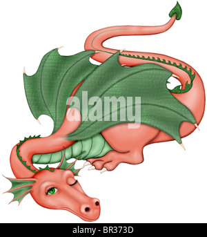 An illustration of a dragon waking from its slumber - Stock Photo