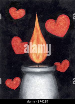 A drawing of a burning candle with hearts in the background - Stock Photo