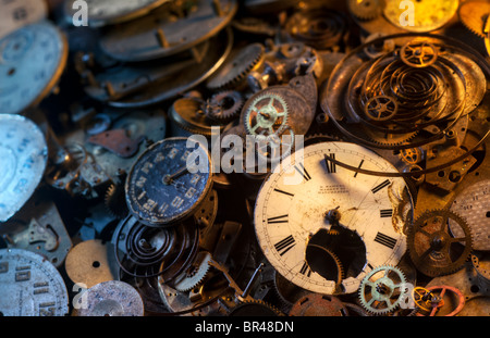 Pocket watch parts still-life, extremely detailed - Stock Photo