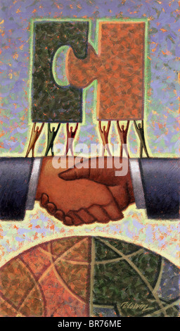 handshake with globe - Stock Photo