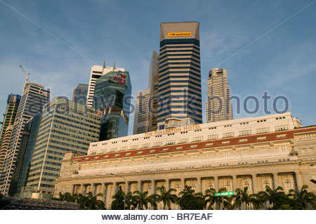 Central Business District and the Fullerton Hotel Singapore - Stock Photo