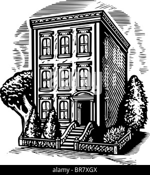 a black and white drawing of apartment buildings in the city stock