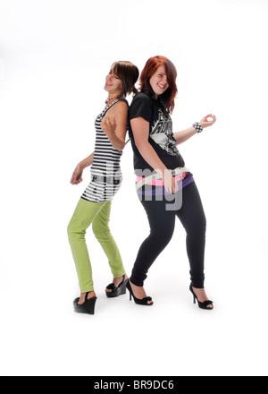 teen girl on white background - Stock Photo