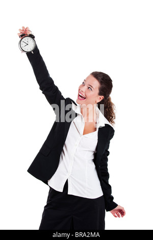 Portrait of Young and beautiful businesswoman holding a clock - Stock Photo