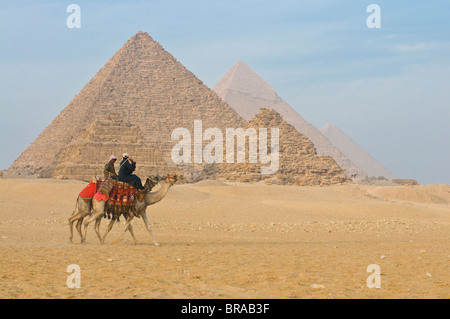 The Pyramids of Giza, UNESCO World Heritage Site, near Cairo, Egypt, North Africa, Africa - Stock Photo