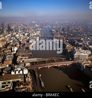 Aerial image of bridges over the River Thames, looking east from Blackfriars Bridge, London, England, United Kingdom, - Stock Photo