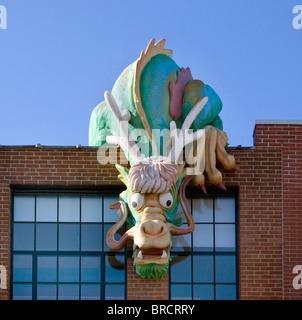 Dragon on the Childrens Museum in Providence Rhode Island - Stock Photo