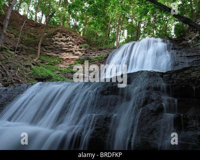 Sherman Falls. Cascade waterfall. Hamilton Ontario Canada. - Stock Photo