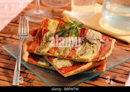 Peppers and anchovies focaccia. Recipe available. - Stock Photo