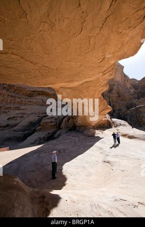 Natural Rock Bridge, Wadi Rum Jordan. - Stock Photo