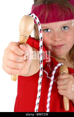 Small girl handing you her jump rope isolated on white - Stockfoto