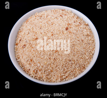 one small white prep bowl full of shredded cheese ready to cook - Stock Photo