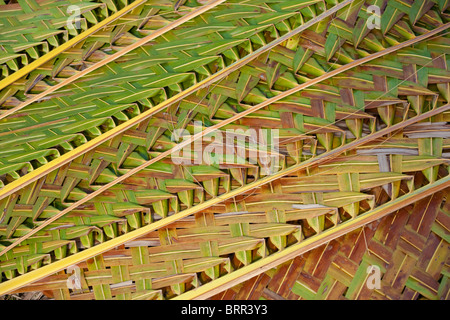 Close-up of plaited palm leaves used as roofing material - Stockfoto