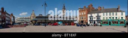 Market Place and Market Hall and Clock Tower, Darlington, Tees Valley - Stock Photo