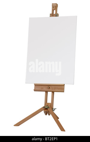 Wooden easel with blank canvas ready for message - Stock Photo