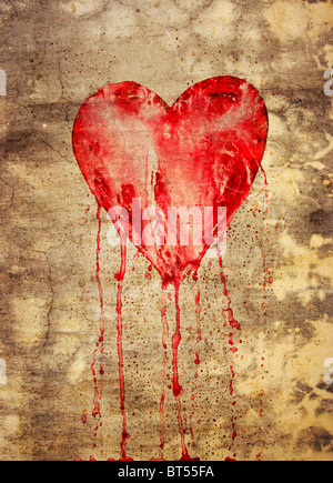 Broken and bleeding heart on the wall in grunge style - Stock Photo