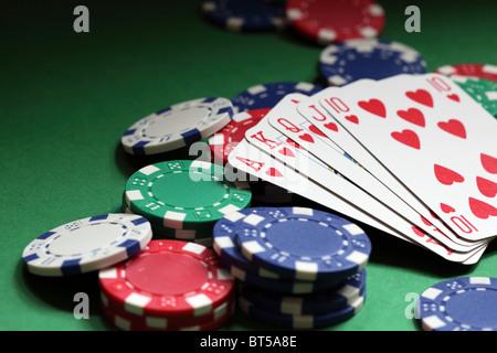 Royal flush poker hand - Stockfoto