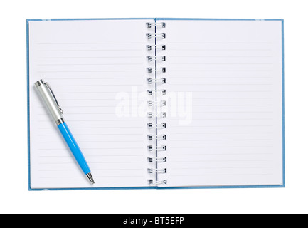 Hard Cover Book pages diary ledger elevated view - Stock Photo