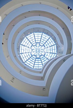 Interior view of galleries in Solomon Guggenheim Museum in Manhattan New York City - Stock Photo