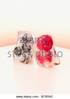 Blueberries and raspberries frozen in ice cubes - Stock Photo