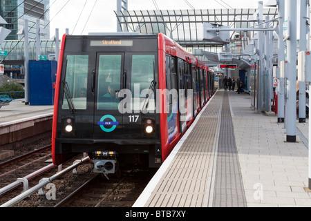 DLR - Docklands Light Railway - Poplar Station - London - Stock Photo