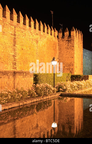 City walls in the Old Quarter of Cordoba, Spain at night - Stock Photo