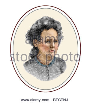 Marie Curie 1867 1934 Polish born French Physicist Modern Cross Hatch Drawing - Stock Photo