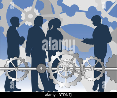 Illustration of a business group with cogs and wheels - Stock Photo