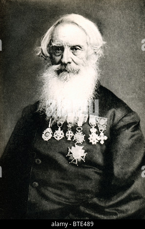 Samuel Morse, the inventor of the Morse Code, in a portrait photograph by Brady with his many medals and decorations - Stock Photo