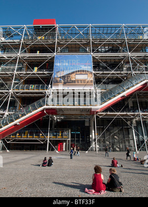 View of the Pompidou Centre modern art museum in Paris France - Stock Photo